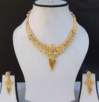 Ethnic Indian Bridal Fashion Jewelry UK 22k Gold Plated Necklace Earrings Set g9