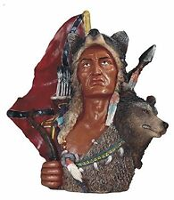 11 Inch Native American Indian Warrior Bust with Wolf Statue Figurine Indio