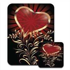 Heart With Elegant Gold Leaf Pattern Mouse Mat / Pad & Coaster