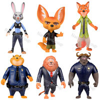 "6pcs Zootopia Officer Judy Hopps Nick Bogo Action Figure Kids Toys Gift 4"" - 5"""