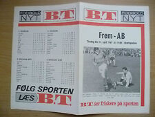 More details for football programme 1967- frem v ab, 11 april (danish football programm)
