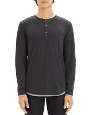 NEW $165 THEORY BLACK SETH DOUBLE LAYER LONG SLEEVE HENLEY SIZE L