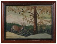 A Vintage Primitive Folk Art Style Nature Scene Pennsylvania Deer 1946 Weatherel