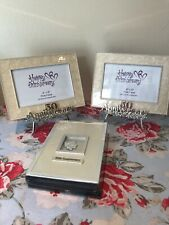 50th Anniversary Photo Album And Two Pearlised Frames On Easels