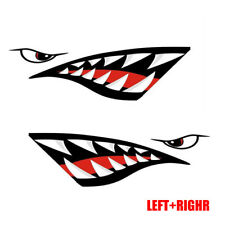 1 Pair Auto Car Shark Teeth Mouth PET Decal Stickers For Kayak Canoe Dinghy Boat