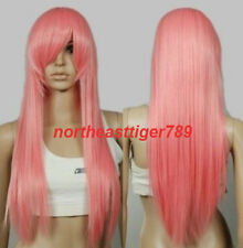 New Fashion Long Pink Straight Cosplay Women's Lady's Anime Hair Wig Wigs + Cap
