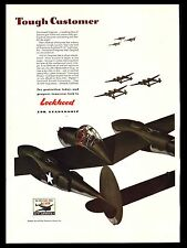 "ORIGINAL 1942 LOCKHEED ""P-38 LIGHTNING"" FIGHTER AIRPLANE-WW II ART PRINT AD"