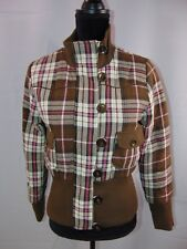 Forever 21 Brown Pink Plaid Zip Button Front Lined Casual Jacket Coat Women's M