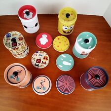 New listing Leyoubei Tea Tins Simple Retro Round Cartoon Storage Cans Double Cover Lot of 6