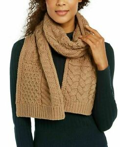 MICHAEL KORS Patchwork Cable-knit Muffler Scarf Dark Camel $78 - NWT