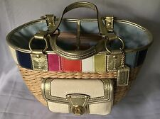 Coach #10749 Limited Edition Straw Multi-Color Leather Beach Style Tote Bag