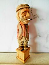 Hand carved & painted wooden caricature figure - Farmer