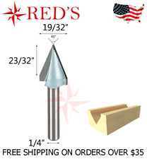 """Tideway Carbide IND LC03040954 45 degree V groove Carving 1/4"""" shank router bit"""