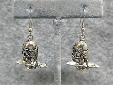 "Gothic Goth Dangle Drop Earrings Skull w/ Dagger In Mouth Silver Finish 1"" NEW"