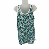 Joie XS Tank Top Sleeveless 100% Silk Umbrella Print White Green Blue Thin Tee