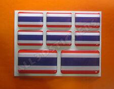 8 x 3D Kfz-Aufkleber Rechteckig Flagge Thailand Sticker Fahne