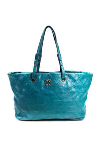 Chanel Womens Large Quilted Leather Open Top Tote Handbag Blue