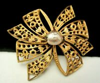 """Rare Vintage 2"""" Signed Miriam Haskell Goldtone Filigree Pearl Bow Brooch Pin A42"""