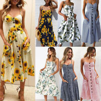 Women Boho Casual Long Maxi Evening Party Cocktail Beach Summer Dress Sundress