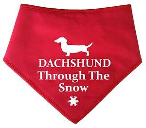 Spoilt Rotten Pets Dachshund Through The Snow Christmas Dog Bandana Pet Present
