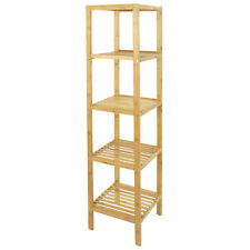 Bamboo Bathroom Shelf Organizer 5 Tier Storage Tower Furniture Home Shelving