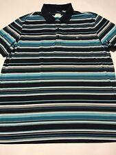 Izod Golf Striped Polo Shirt - Navy Blue Multi Color Size Xl