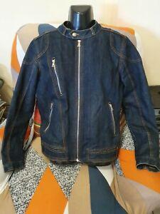 ZARA MAN Blue Denim Lined Biker Jacket. Size L. 40 NWOT