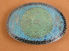 Mayan Calendar Silver Turquoise Onyx Vintage Taxco Mexico Belt Buckle Aztec