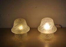 Pilz Lampe Glas Tischlampe Pilzlampe 70er Jahre Vintage Reliefdekor Mushroom
