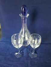 Modern Tall Clear Glass Decanter With Blue  Glass Stopper 2 matching wine glasse