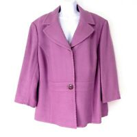Caslon Women's Plus Blazer 22W Lavender Basket Weave 3/4 Sleeve Crystal Detail