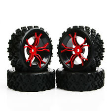 12mm Hex RC Racing Rubber Tire Wheel Rims 4x Set For 1/10 RC Rally Off Road Car