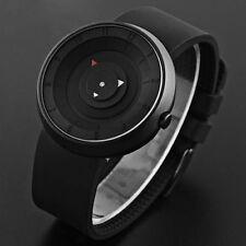 Futuristic Simple Triangle Black Circles Dial Black Silicone Mens Wrist Watch