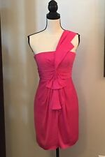 +BCBG Max Azria Palais One-Shoulder Cocktail Dress Begonia Pink Size 2