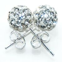 Pair Of Sterling Silver  925  Crystal Disco Ball 8 mm  Ear Studs  !!      New !!