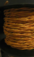 25 Ft. Spool Gold Twisted Rayon Covered Lamp Wire Antique Vintage Style Cord