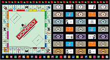"""Game Night Monopoly Gameboard 100% Cotton Fabric Panel 44"""" X 23.5"""""""
