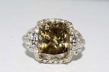 $30,000 6.38CT NATURAL COGNAC & WHITE DIAMOND ENGAGEMENT RING HUGE DIAMOND