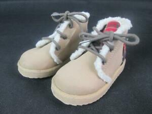 BABY GAP SHERPA PLAID FAUX SUEDE/LEATHER LACE-UP BOOTS TAN/BEIGE KIDS 6 EUC