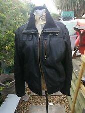 Man's faux leather bomber jacket sz large M&S Good used condition