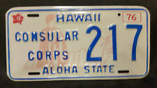 1976 HAWAII CONSULAR CORPS 217 LICENSE PLATE