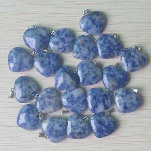 Natural Sodalite Stone Silver P Beads heart  Pendants 50pcs/lot  Wholesale