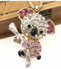 Cute NWT Betsey Johnson Necklace Gold  Pink Crystals Koala 🐨 Bear Adorable
