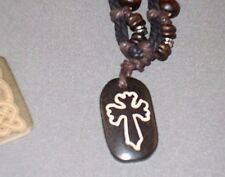 Christian Pendant Necklace - Wood Etched Cross - Leather Cord - Choker Surfer
