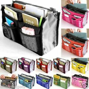 Portable Purse Tote Bag With Inner Storage Organizer Pouch Handbag (Fusha Pink)