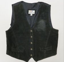 Leather by Wilsons Black Suede Vest Womens XL Retro Vintage
