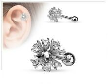 """16g 1/4"""" Tragus Cartilage Barbell Multi Cz Set Ball 316L Surgical Steel Barbell"""