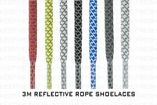 Rope 3M Reflective Shoelaces New Laces Nike Adidas Asics Buy 2 Get 1 Free