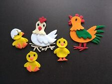 5 Farm felt die cuts. Hen, Roster, Chicks. Embellishments. Card Topper. bunting