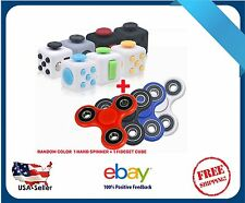 1X Fidget Cube + Hand Spinner Anxiety Stress Relief Focus Desk Toy